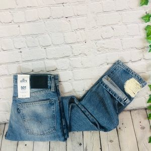 Levis 501 Big E Selvedge High Rise Straight Jeans